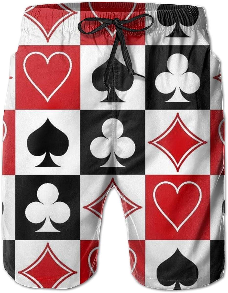 Ye Hua Grid Poker Playing Cards 3D-gedruckte Badehose f/ür Herren Quick Dry Beachwear Sports Running Swim Board Shorts Mesh-Futter