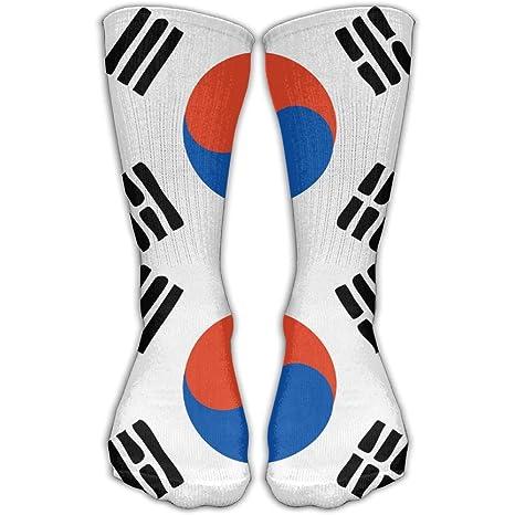 WEEDKEYCAT Calcetines altos para hombre y mujer, diseño de bandera de Corea del Sur,