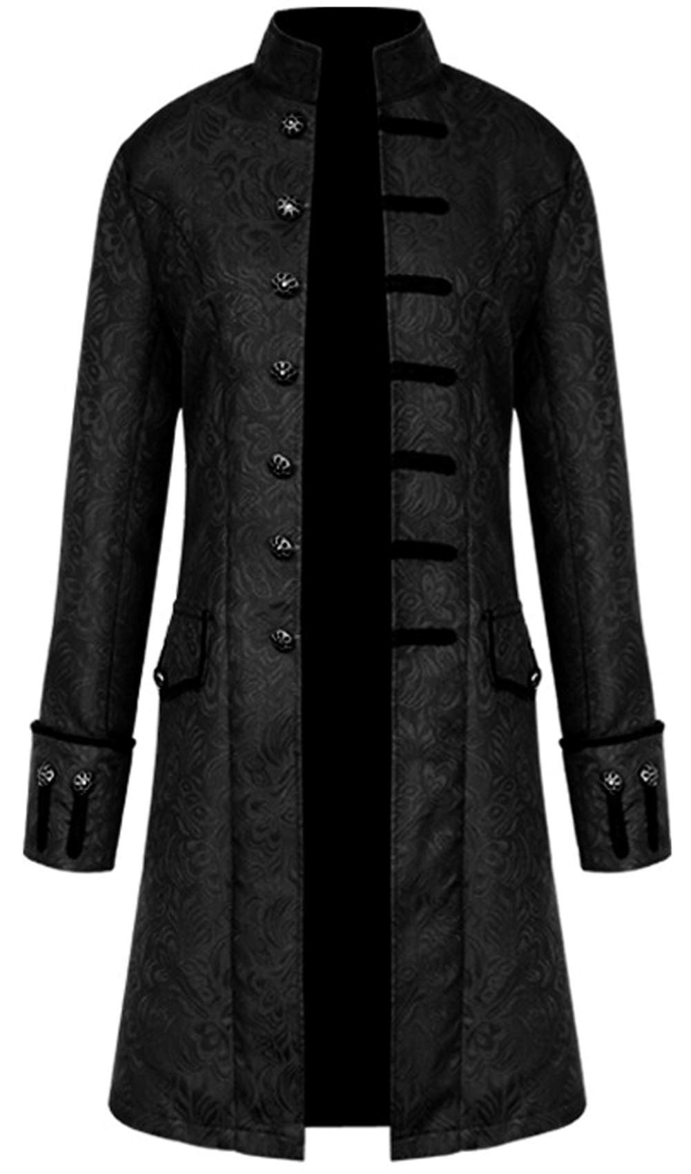 JOKHOO Men's Steampunk Tailcoat Jacket Gothic Victorian Frock Coat Tuxedo Halloween Costume (Black, 3XL) by JOKHOO