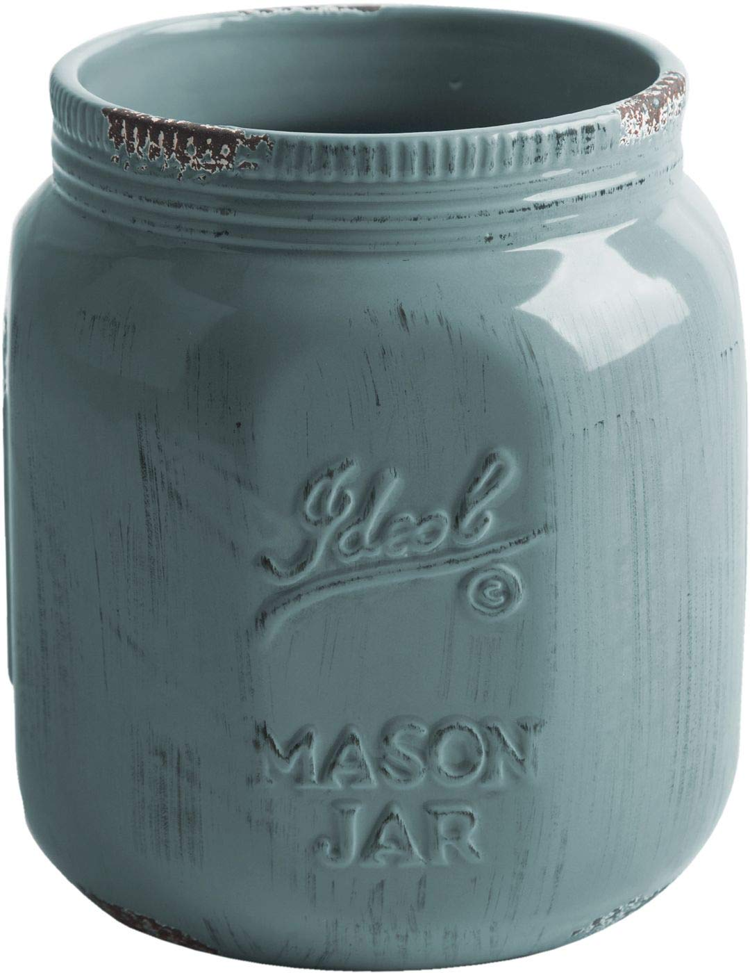 Home Essentials Vintage Mason Jar Collect Antique Utensil Crock Blue Grey 7 inches Height
