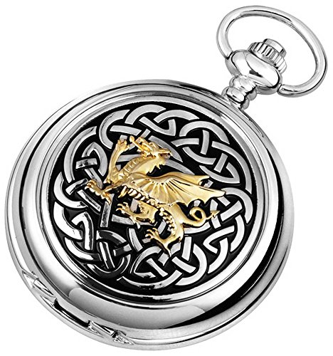 - Woodford Mens Celtic Dragon Chrome Plated Double Full Hunter Skeleton Pocket Watch - Silver/Gold/Black
