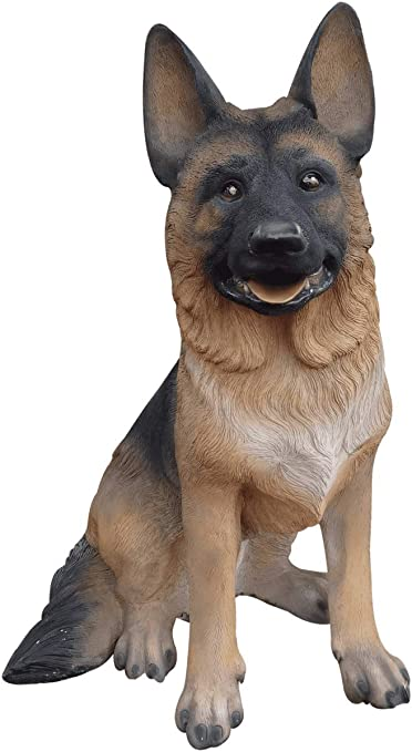 Amazon Com Lm Treasures Dog German Shepherd Sitting Animal Prop Life Size D Ecor Resin Statue Home Kitchen