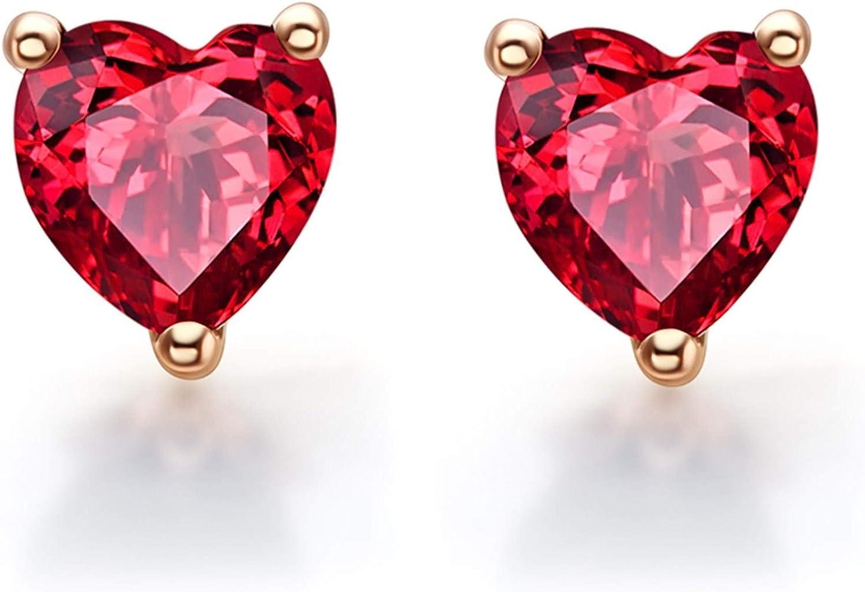 AueDsa Pendientes Oro Rosa Pendientes de Mujer Oro Rosa 18k Mujer Corazón Granate Rojo 1.28ct