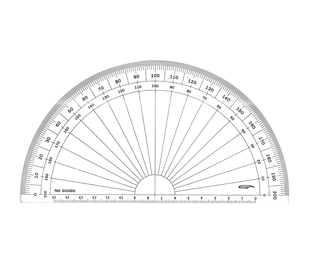 GX220G Grapholex-Protractor-Semi-Circle-Clear