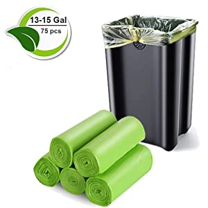 Inwaysin Biodegradable 13-15 Gallon Trash Compostable Garbage 1.18Mil Recycled Waste Bags Tall Unscented Rubbish Can Liners for Kitchen Garden Home Office (75 Count, Green)