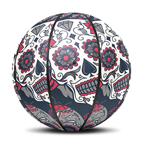 Sugar Skull Dia De Los Muertos Basketball Indoor Outdoor Sports Ball Size 7, Base included