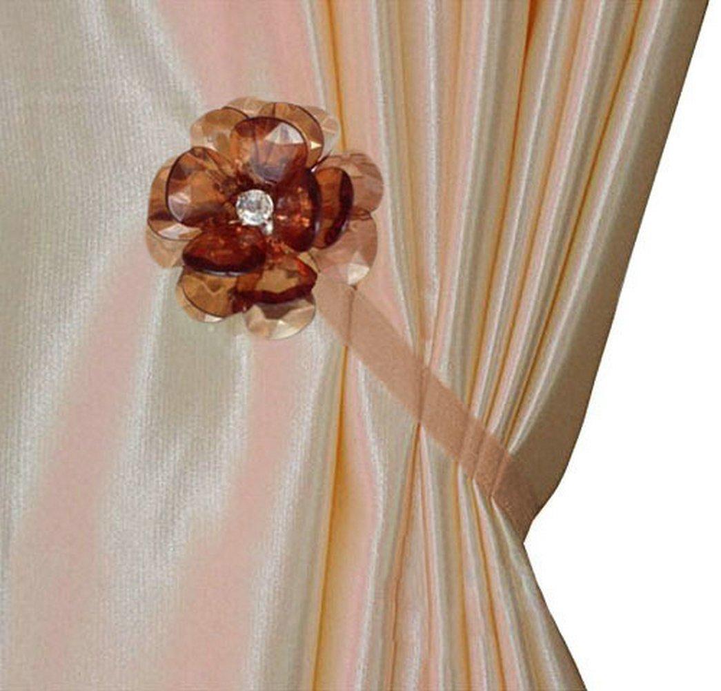Ayygift Elegant Crystal Flower Magnetic Curtain Rope Tieback Wrap Holdbacks - Set of 2