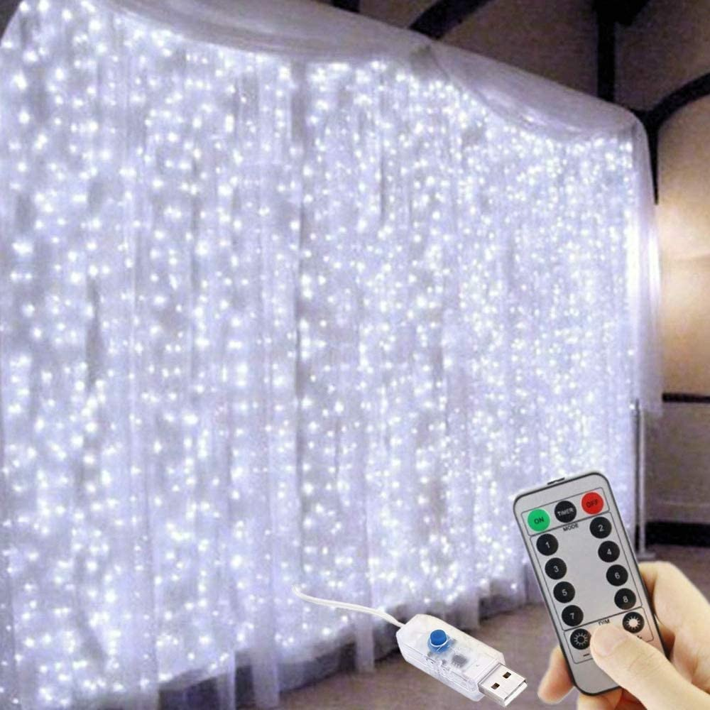Hanging Window Curtain String Lights, 300 LED 10Ft USB Plug in String Lights, Remote, 8 Lighting Modes, Waterproof Decorative Lights for Bedroom Wedding Wall Party Indoor Outdoor Decor, Cool White