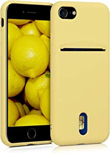 kwmobile Case Compatible with Apple iPhone 7/8 / SE (2020) - Phone Cover with Card Holder and Rubber Finish - Yellow