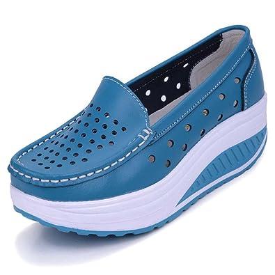 Solshine Damen Leder Atmungsaktiv Loafers Freizeitschuhe Plateau Keilabsatz  blau 35 EU   3 UK   5 a5708a50e0