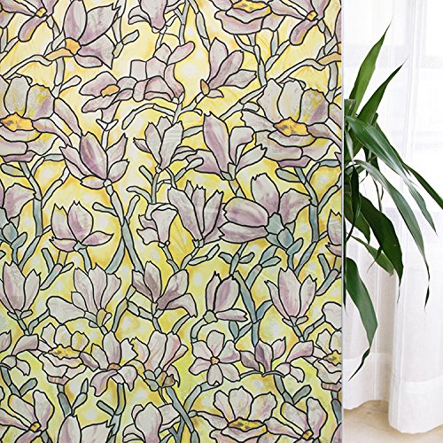 VEOLEY Magnolia Glass Window Film Floral Pattern Static Cling Privacy Film for Windows (17.7