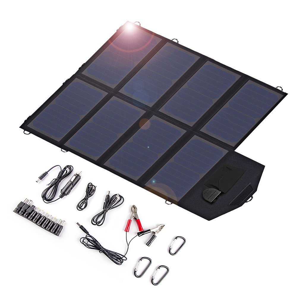 X-DRAGON Solar Charger, 40W Solar Panel Charger (5V USB with SolarIQ + 18V DC) Water Resistant Laptop Charger for CellPhone, NoteBook, Tablet, Apple, iPhone, Samsung, Android, Camping, Outdoor