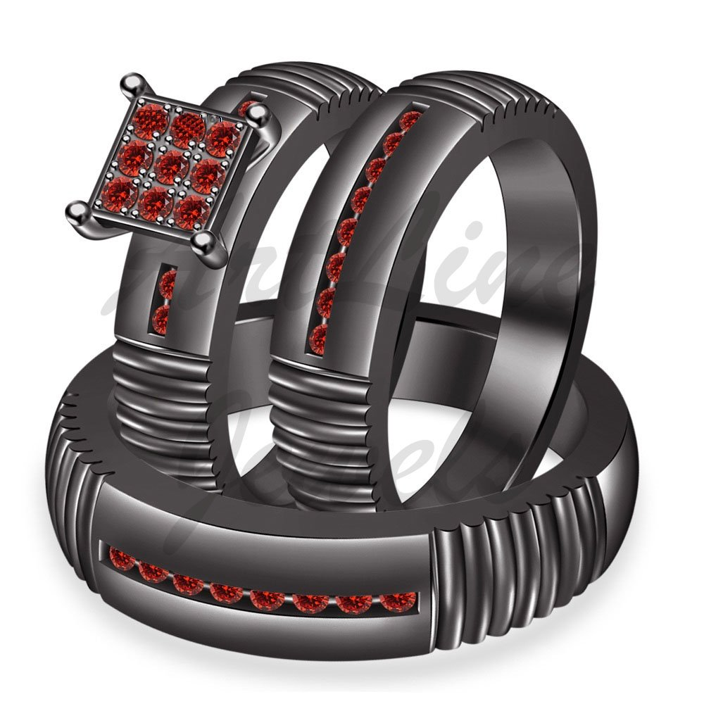ArtLine Jewels Round Cut Red Garnet 14K Black Gold Finish His & Her Engagement Wedding Trio Ring Set