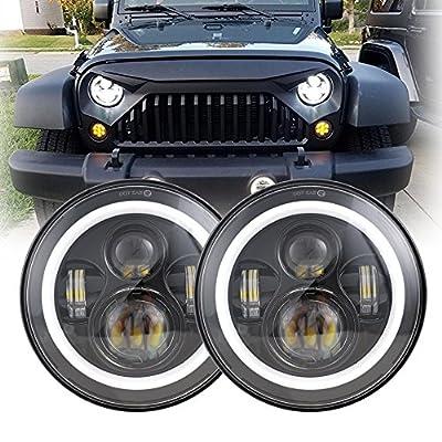 7Inch Black LED Daymaker Headlight with White Halo/Amber Turn Signal for Jeep Wrangler JK LJ TJ CJ HUMMER H1 H2 Land Rover Defender