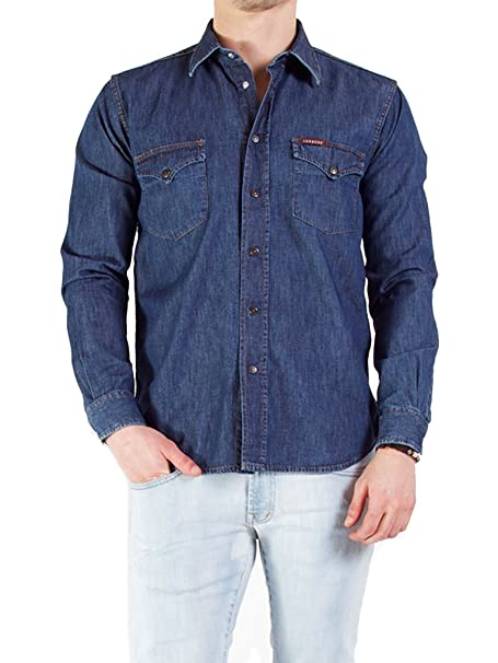 meet 8843d caa92 Carrera Camicia Jeans Uomo Art.205 Regular Denim TG S/M/L/XL/XXL 2 Varianti  DD