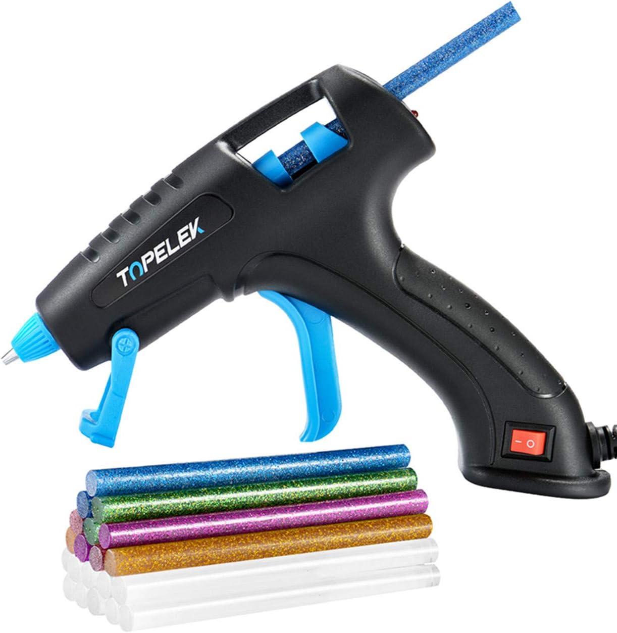 TOPELEK Hot Glue Gun, 30W Glue Gun Kit with Longer Handle, 3 Finger Protectors, 20pcs Glue Sticks, Melting Gun for Small DIY Projects, Arts & Crafts, Home Quick Repairs, Black: Home & Kitchen