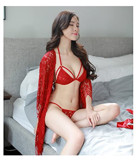 e201c5ee7a173 Sexy Pajamas Women s Summer Nightdress Translucent Lace Three-point Sexy  Lingerie Set Hot Temptation Three