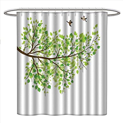 Hummingbird Shower Curtains 3D Digital Printing Branch With Hummingbirds In Seasonal Vivid Colors Spring Freedom Nature