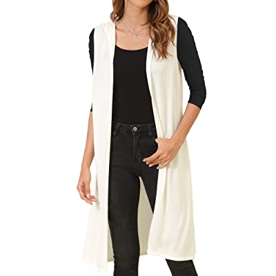 MessBebe Women's Sleeveless Long Vest Cardigan Hooded Lightweight Duster Vests for Women Open Front Tops Solid Spring at Women's Clothing store