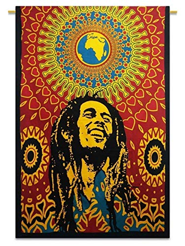 Third Eye Export Decorative Bob Marley One World Tapestry Wall Decor/Ethnic Wall Hanging Art/Hippie Wall Art/Boho Poster (Bob Marley) Bob Marley Poster Flag