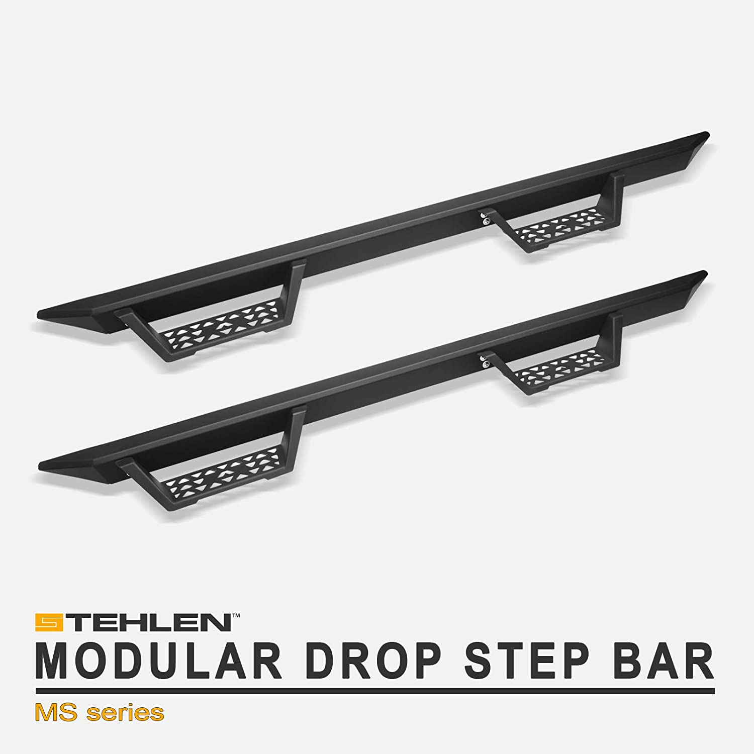 Matte Black For 2007-2018 Chevy Silverado//GMC Sierra Double Extended Cab Stehlen 733469494423 Modular Drop Step Side Nerf Bars Rail Running Boards