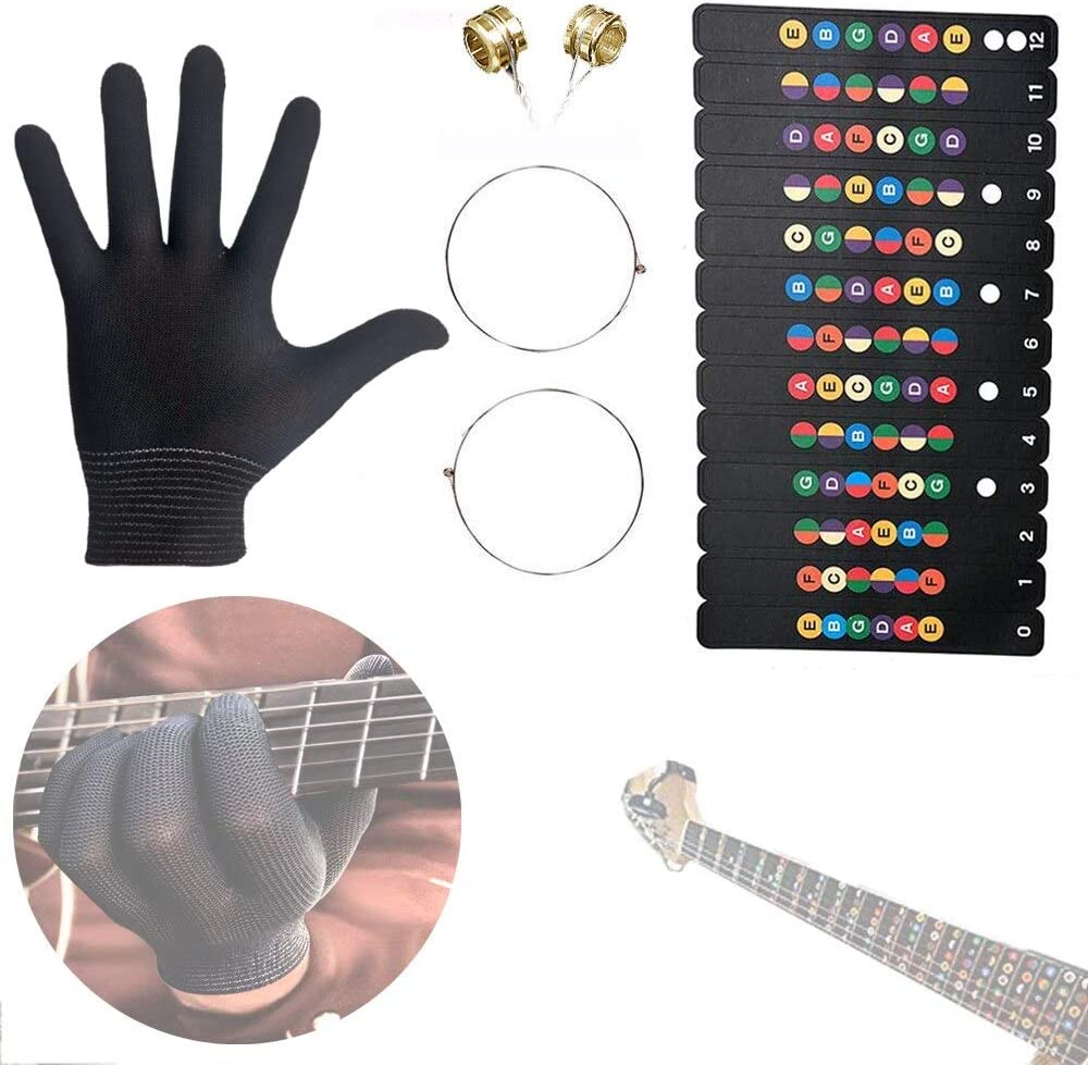 RS Glove for Electric Guitar Beginner Train Note Sticker and 1st/2nd String 9-11