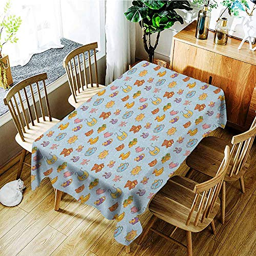 XXANS Outdoor Tablecloth Rectangular,Baby,Newborn Sun Teddy Bear Ribbon Feeder Pacifier Chick Kitty Cat Design,Table Cover for Dining,W54x72L Pale Blue Cinnamon Apricot ()