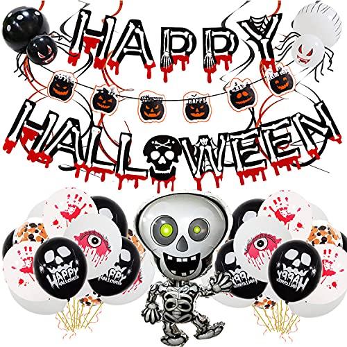 Celemela Halloween Luftballons Halloween Deko Set Happy Halloween Dekoration Halloween Girlande Kit für Halloween Party Deko (Gelb)