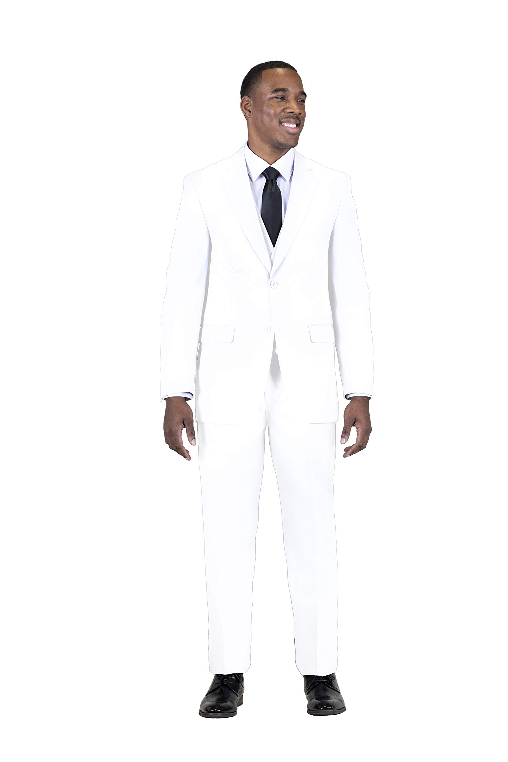 Stacy Adams Men's Big-Tall Suny Vested 3 Piece Suit, White, 54 Long by STACY ADAMS