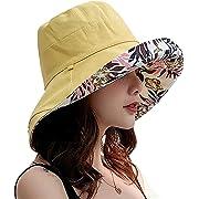 f32a834061260b Caissipレディース 帽子 ハット UVカット 紫外線対策 熱中症予防 サイズ調節可 つば広