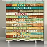 Laural Home LLL74SC Live Laugh Love Shower Curtain, Mulitcolor