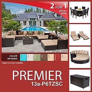Premier 26 Piece Outdoor Wicker Patio Furniture Package PREMIER-13a-P6TZSC
