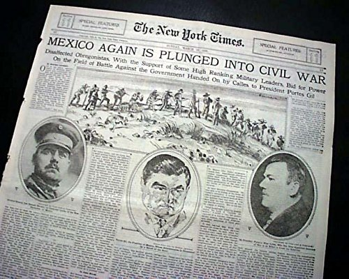 ESCOBAR REBELLION Northern Mexico Conflict w/ Jose Gonzalo 1929 Old Newspaper THE NEW YORK TIMES, section 11 only, March 10, 1929