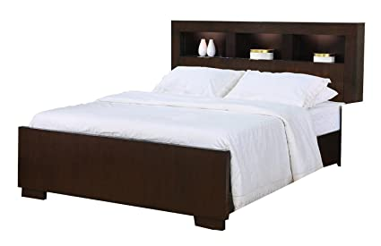 Jessica Eastern King Bed With Storage Headboard And Built In Lighting  Cappuccino