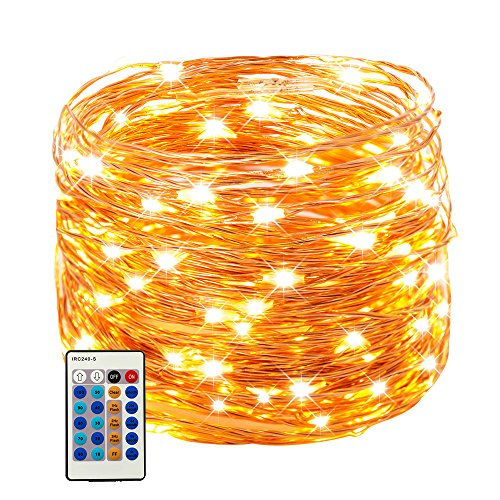 66ft 200 LEDs Copper Wire String Lights Dimmable with Remote Control, Waterproof Starry Lights for DIY, Outdoor, Bedroom, Patio, Garden, Gate, Party, Wedding, Barbecue (LED String Lights, Warm White) (Outdoor Bar Diy Patio)