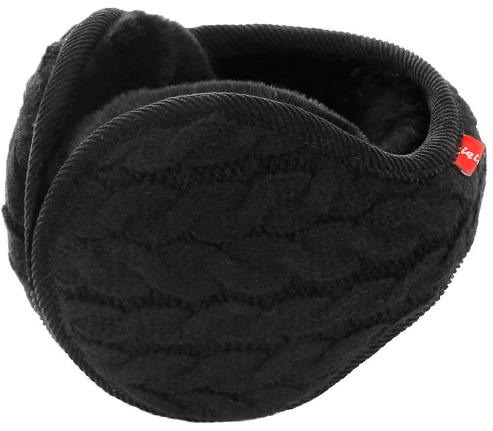 Caistre Unisex Winter Earmuffs Knit Ear Warmers for Women Foldable Grey