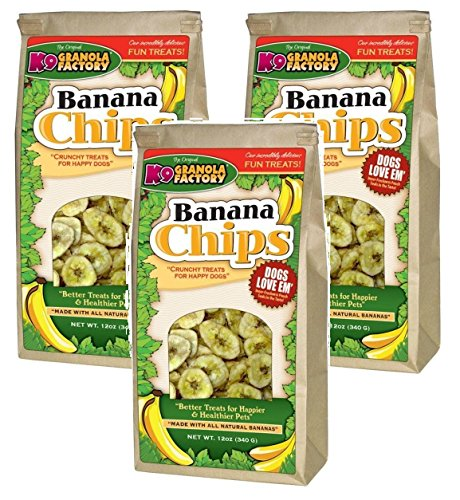 (3 Pack) K9 Granola Factory Banana Chips Dog Treats, 12 Ounces each ()