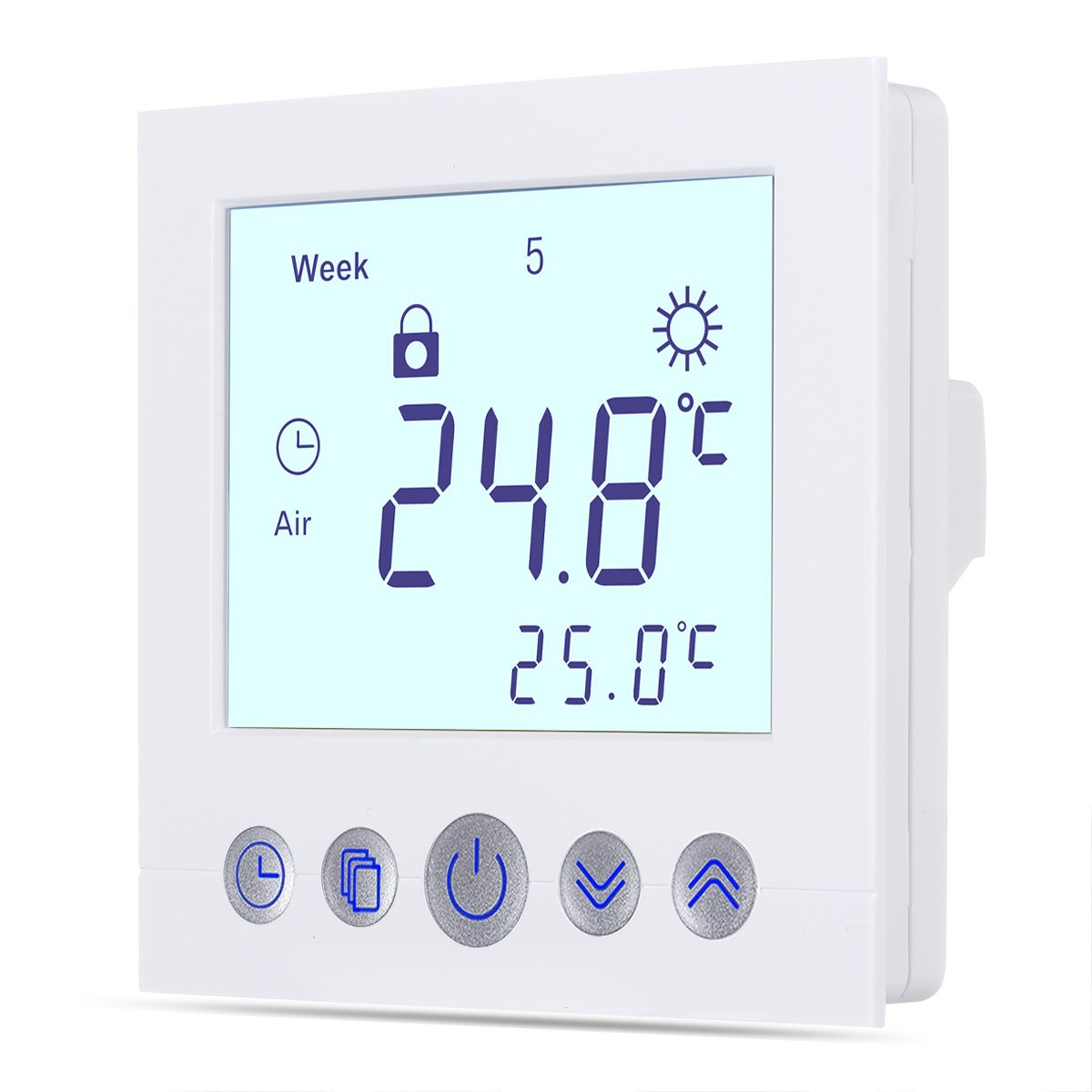 FLOUREON Underfloor Heating Thermostat Central Heating thermostats Room Thermostat 230V 3A Programmable Temperature Controller 5+ 2/6+ 1 / 7days with Large LCD Screen