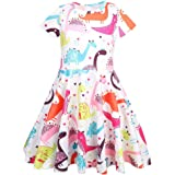 Hstore ✿ Toddler Kids Baby Girl Cartoon Dinosaur Print Tunic Casual Princess Party Dress Casual Clothes Party Dress