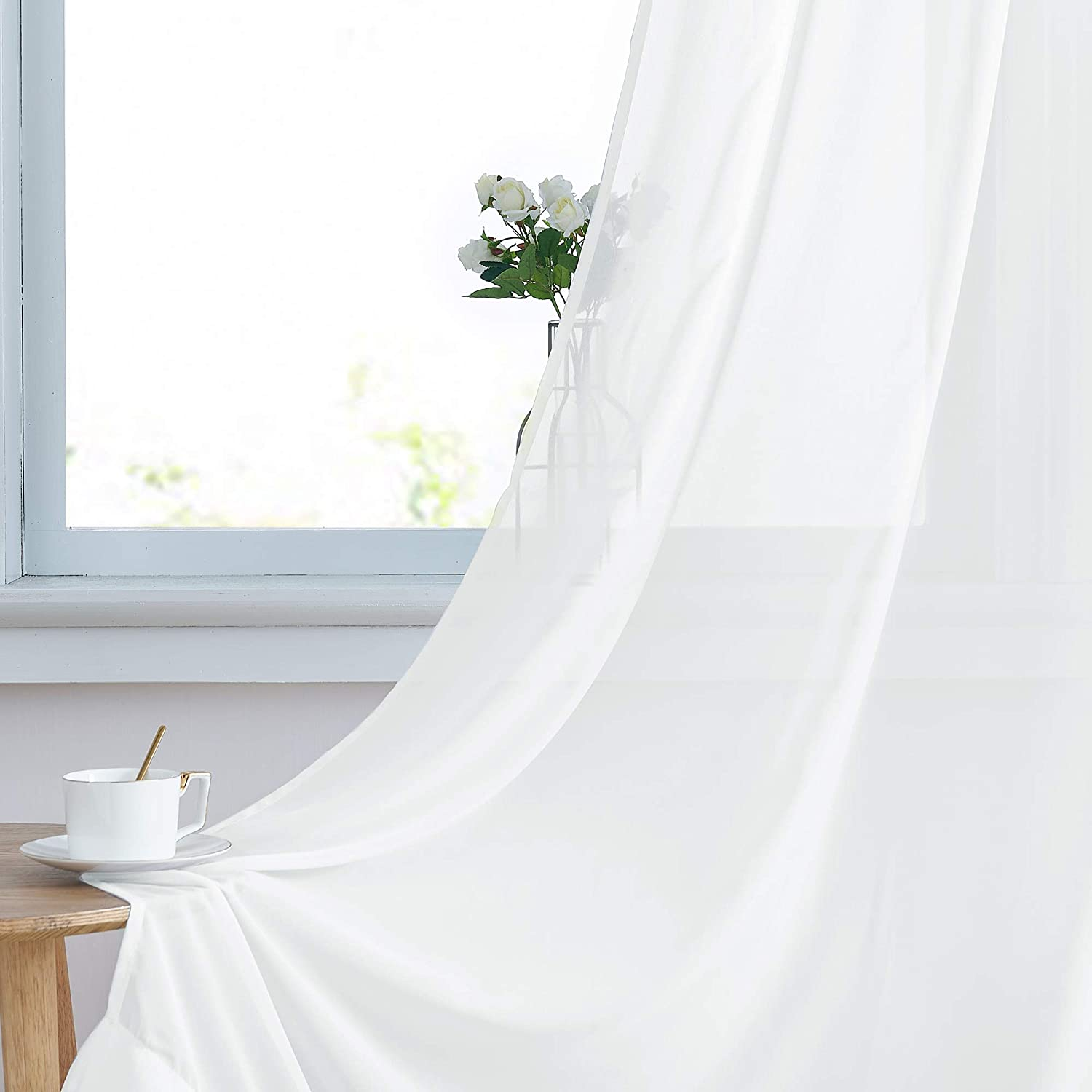 NICETOWN Chiffon Sheer Curtain Panels Bedroom, Home Decoration Solid Voile Panels with Ring Top (2-Pack, 55 Wide x 84 inch Long, White)