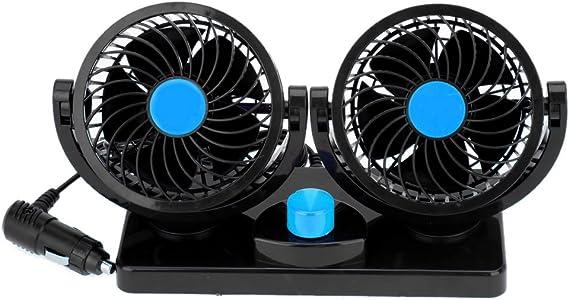 Winnes Mini Auto Ventilator 12V 24V Doppelk/öpfiger Auto Fan 360 Grad Drehbar//Option mit Drei Speed USB Ventilator f/ür Auto LKW Lieferwagen und Wohnmobile