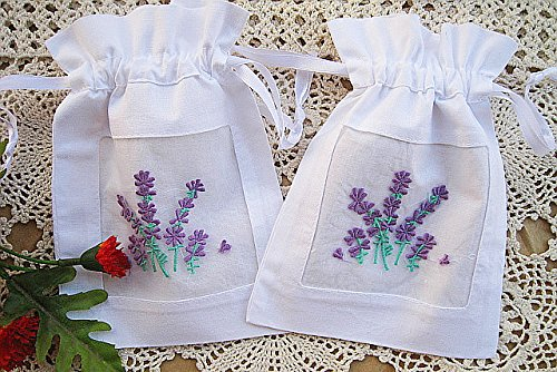 Vintage White Cotton Gift Bags Drawstring Embroidered Sachet Purple Lavender 5