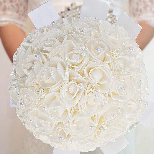 ideal para bodas color blanco 18 rosas en ramo HEAD
