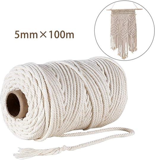 GoMaihe Macrame Cuerda, 5mm x 100m Cordón Hilo de Algodón Natural ...