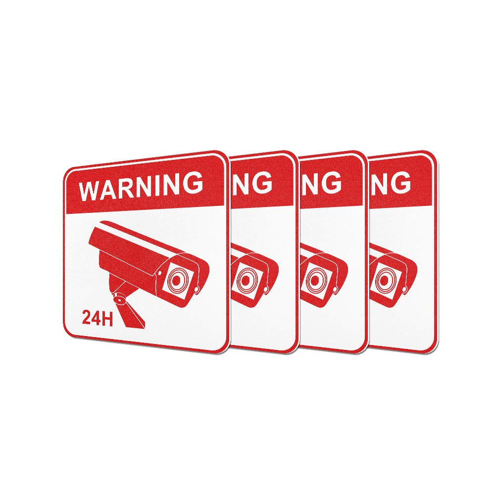 JeaTone Video Surveillance Warning Sign Sticker-CCTV Security Premium Self-Adhesive Vinyl Decal Camera Alarm System Stickers - 24 Hours Security Warning Signsf(Little red) …