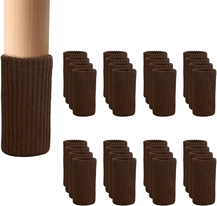 BLENDNEW 32 PCs Furniture Leg Socks Covers - High Elastic Knitted Chair Leg Floor Protectors, Double Thickness Furniture Booties Set Coffee, Move Easily and Reduce Noise