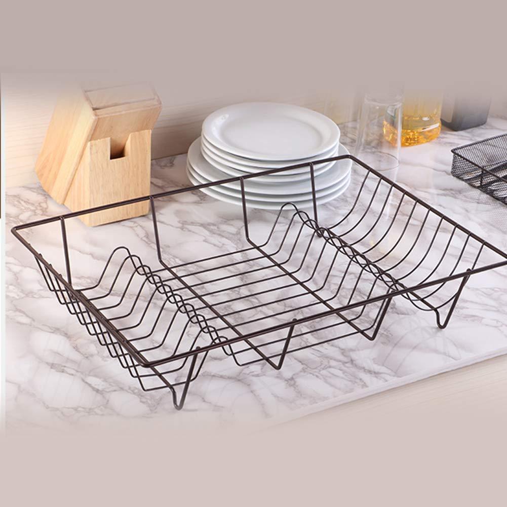 herramientas pr/ácticas estante de cocina Escurreplatos de gran capacidad de hierro organizador de cubiertos Tama/ño libre As Picture Show para guardar el fregadero color negro