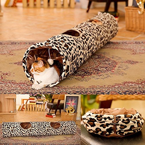 Pet Cat Soft Play Tunnel Toy Collapsible Leopard Print Kitten 2 Holes Long Tunnel Rabbit Fun Toys by My Toots