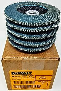 """(Box of 5) Dewalt DWA8208H 4-1/2"""" x 5/8""""-11 T29 80 grit Zirconium Flap Discs"""