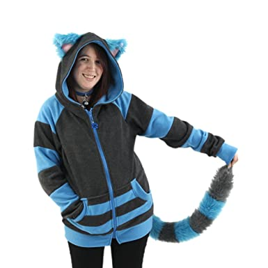 2d935b264 Amazon.com: Pawstar Cheshire Cat Hoodie and Furry Tail Combo Deal: Clothing